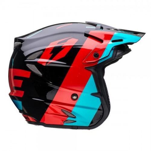 Jitsie HT2 Domino Helmet Black/Red/Teal