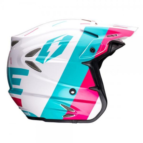 Jitsie HT2 Domino Helmet White/Teal/Purple